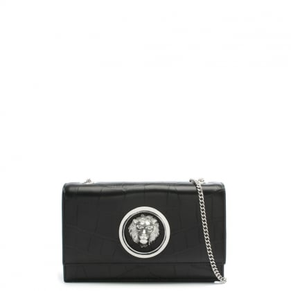 Black Leather Lion Head Clutch Bag