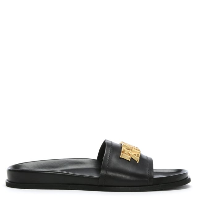 553fe3b513d Emporio Armani Black Leather Logo Sliders