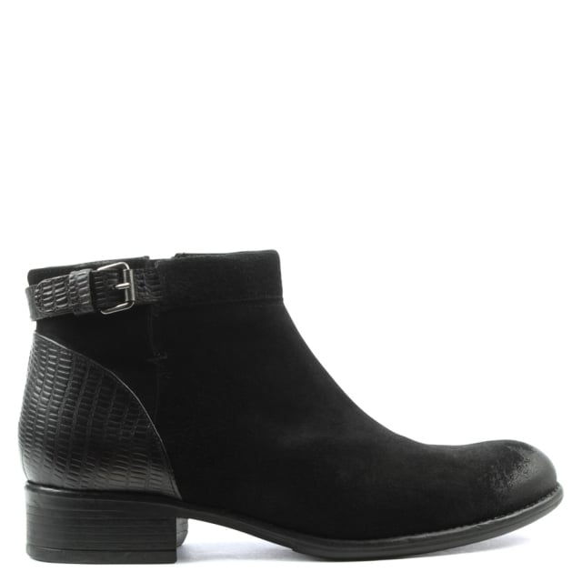 Black Leather Low Heel Buckled Ankle Boot