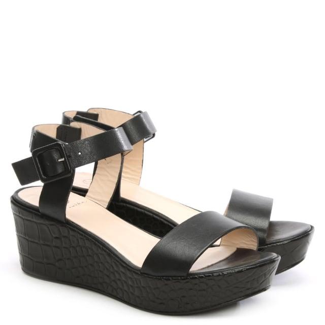 d116d3c363b Black Leather Low Wedge Sandal