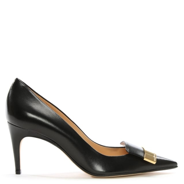 Black Leather Metal Trim Court Shoes