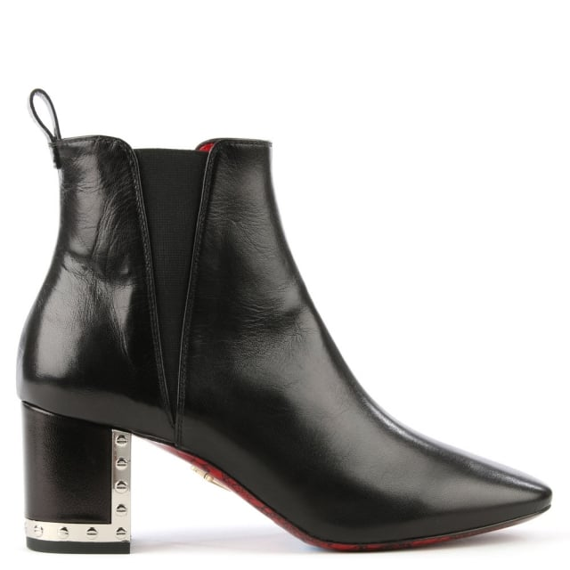Black Leather Metal Trim Heel Ankle Boot