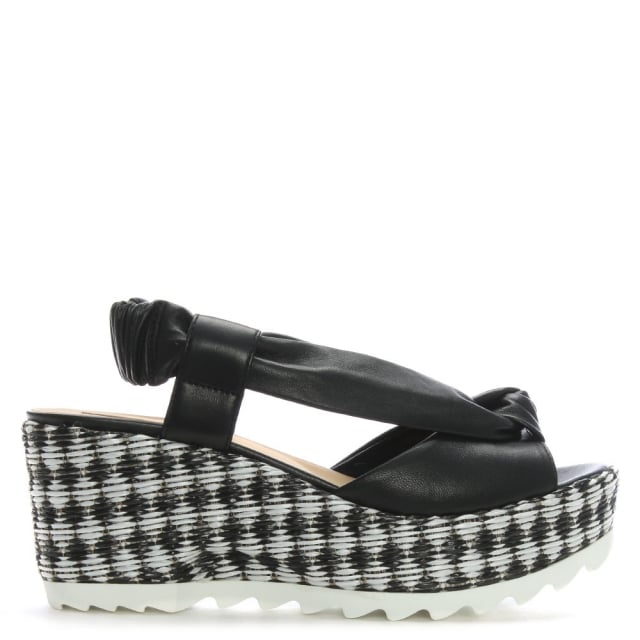 Black Leather Monochrome Woven Wedge Sandals