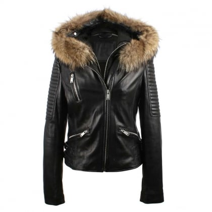 Black Leather Natural Fur Trim Biker Jacket
