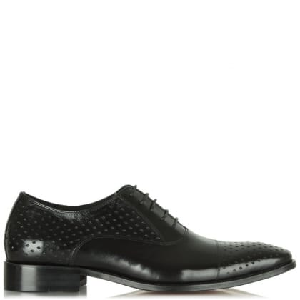 Black Leather Oborne Diamond Lace Up