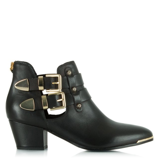 Black Leather Ockerden Cut Out Ankle Boot