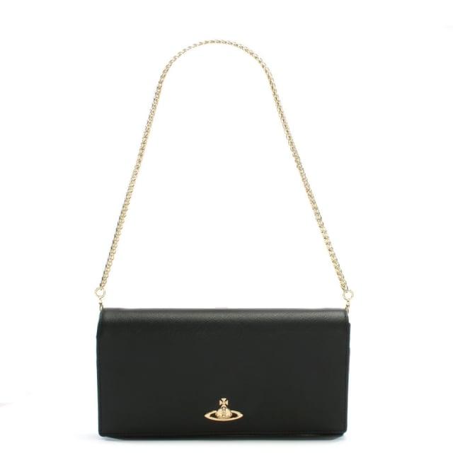 e42f737ca861 Vivienne Westwood Black Leather Orb Chain Strap Wallet