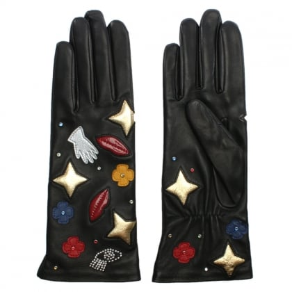 Black Leather Patch Gloves