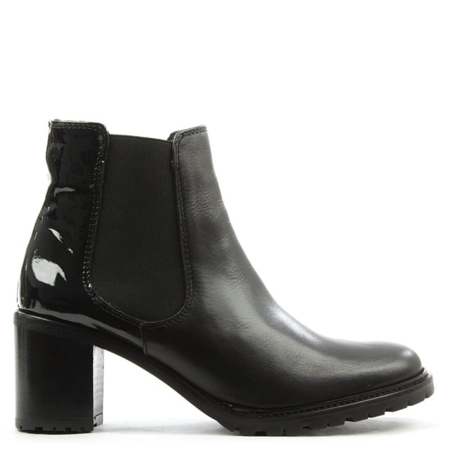 Black Leather Patent Back Chelsea Boot