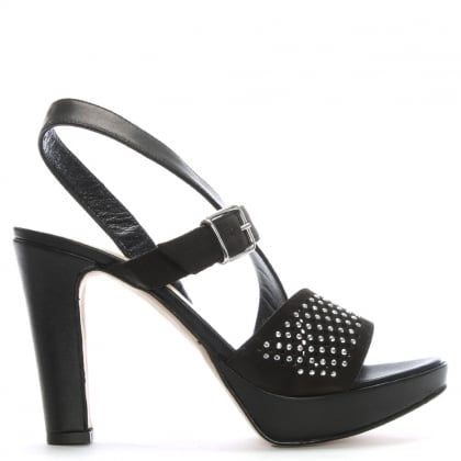 Black Leather Perforated Diamante Embellished Sandals