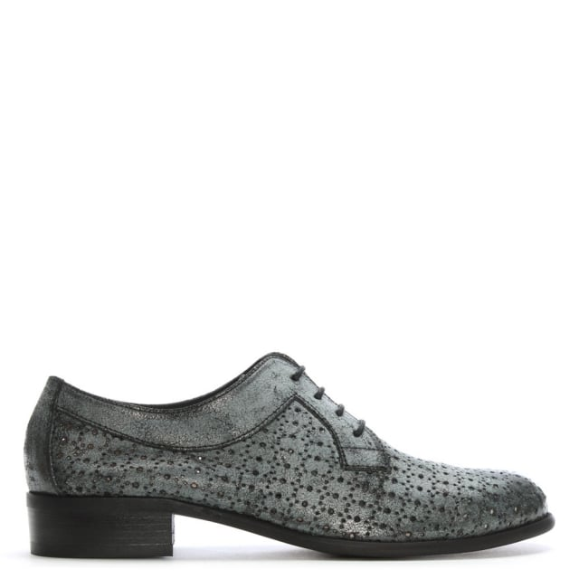 Black Leather Perforated Lace Up Day Shoes