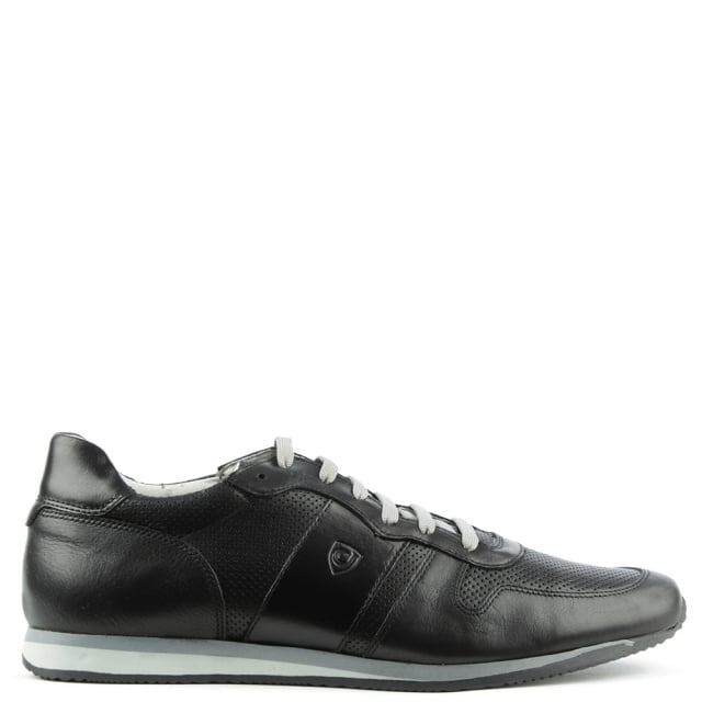 Black Leather Perforated Lace Up Trainer