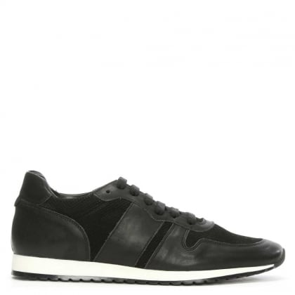 Black Leather & Perforated Lace Up Trainer