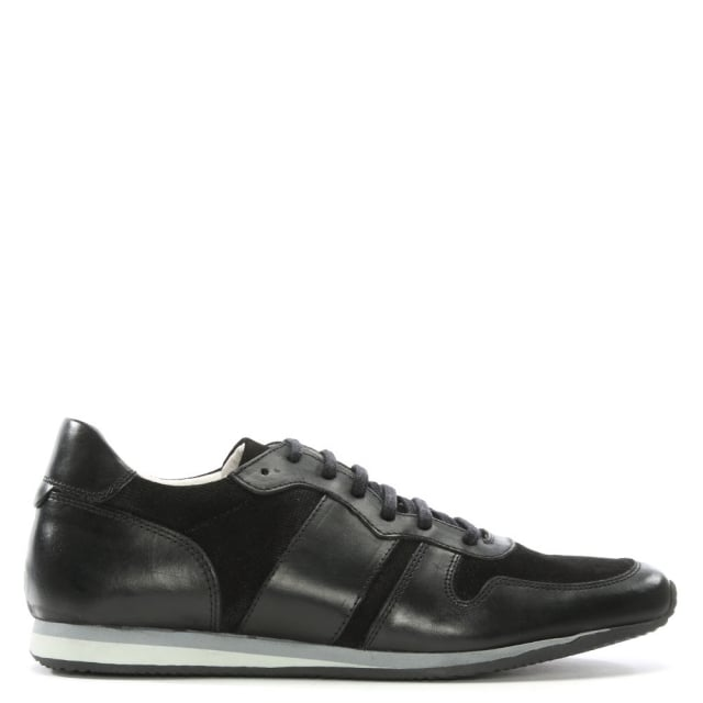 Roman Rock Black Leather Perforated Trainers
