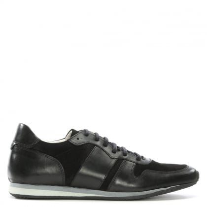 Black Leather Perforated Trainers