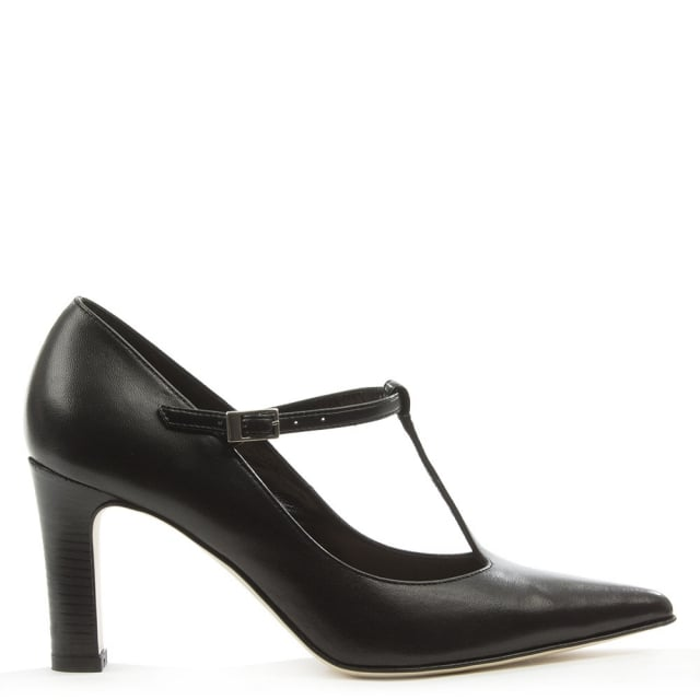 Black Leather Point Toe Toe T Bar Court Shoe