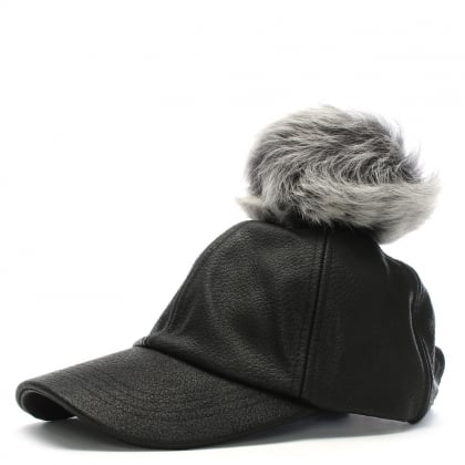 Black Leather Pom Pom Baseball Cap