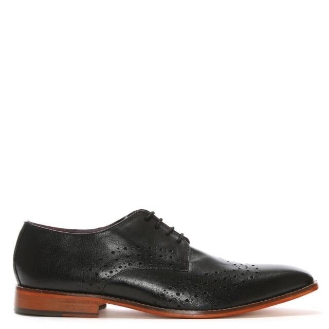 Black Leather Punched Brogues