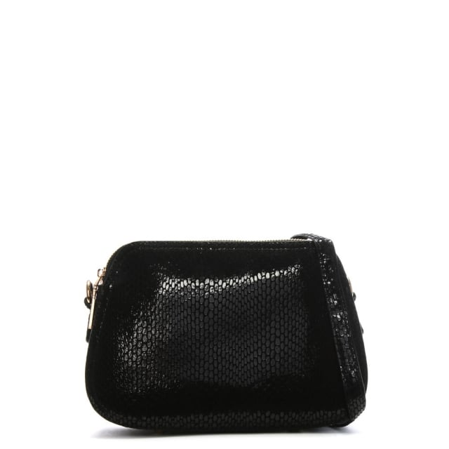 Black Leather Reptile Cross-Body Bag
