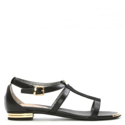 Black Leather Reptile T Bar Sandal