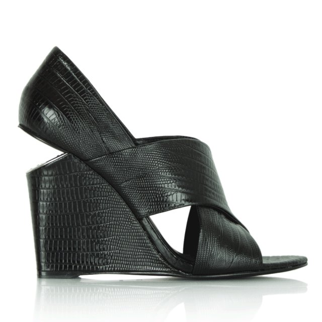 Black Leather Reptile Wedge Sandal