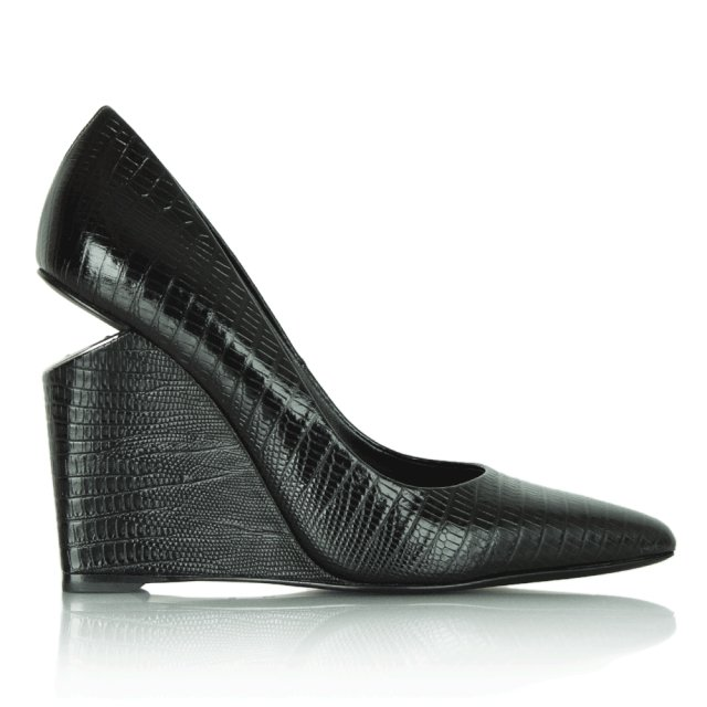 Black Leather Reptile Wedge Shoe