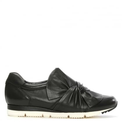 Kennel & Schmenger Black Leather Slip On Bow Trainer