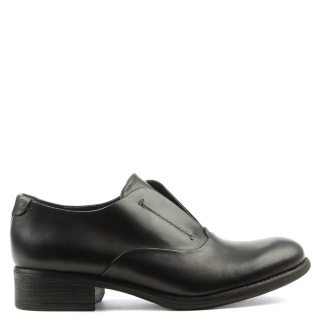 Black Leather Slip On Day Shoe