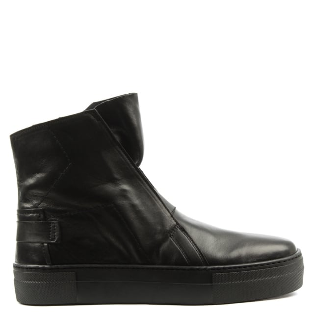 Black Leather Sporty Flatform Ankle Boot