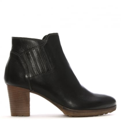 Black Leather Stacked Heel Ankle Boots