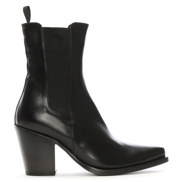 Black Leather Stacked Heel Chelsea Boots