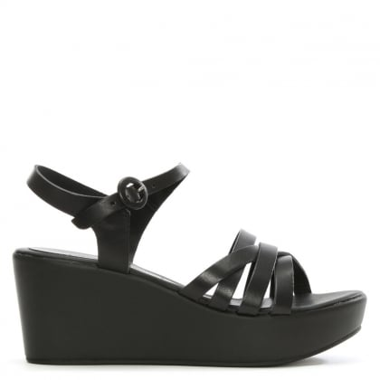 Black Leather Strappy Wedge Sandal