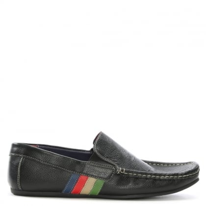 Black Leather Striped Driving Loafers