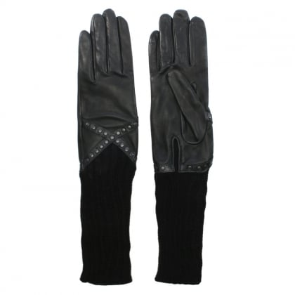 Black Leather Studded Long Line Gloves