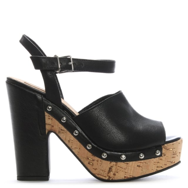 Black Leather Studded Platform Sandals