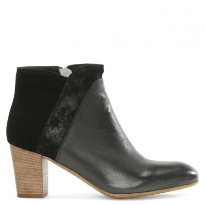 Black Leather & Suede Contrast Ankle Boot