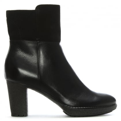 Black Leather & Suede Contrast Ankle Boots
