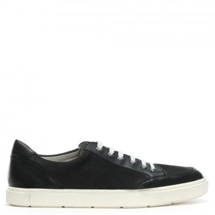 Black Leather & Suede Lace Up Sneakers
