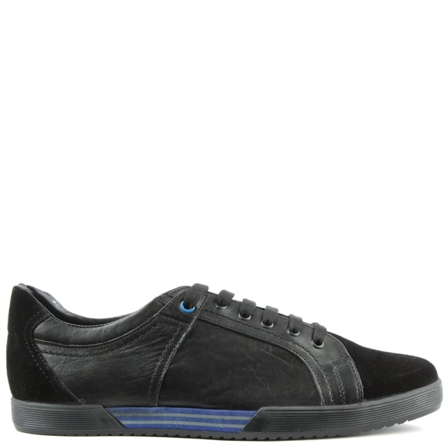 Black Leather & Suede Sporty Lace Up Trainer