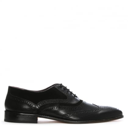 Black Leather Suede Trim Lace Up Brogues