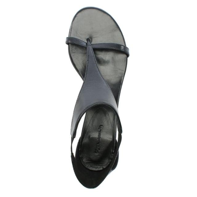 Black Leather T Bar Sandals