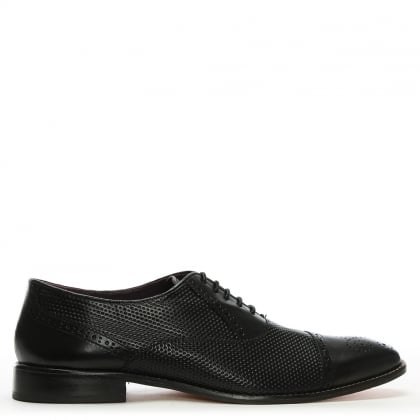 Black Leather Textured Brogues