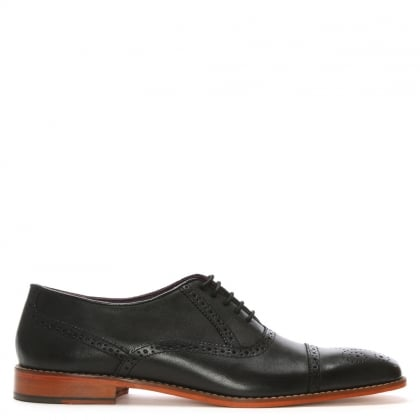 Black Leather Toe Trim Brogues