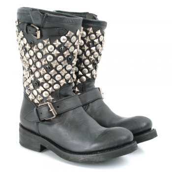 Black Leather TOKYO Womens Biker Boot