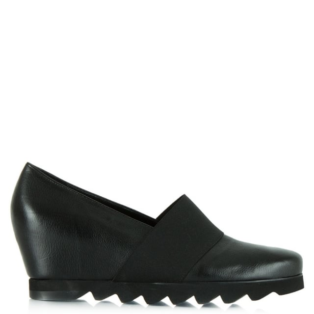 Black Leather Tori Cleated Wedge Shoe