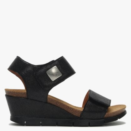 de6e8bc1ff18b0 Black Leather Velcro Strap Wedge Sandals