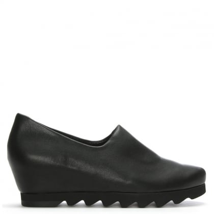 Black Leather Wedge Day Shoes