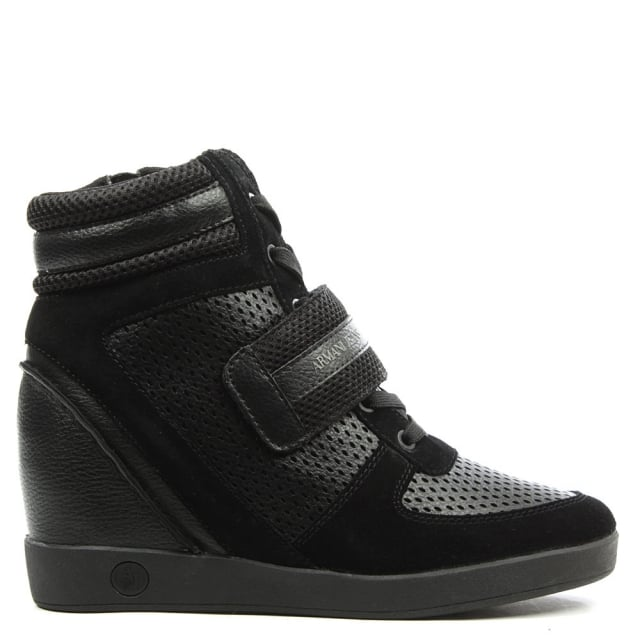 Black Leather Wedge High Top Trainer
