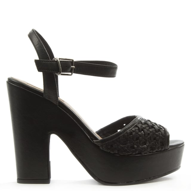 Black Leather Woven Platform Sandal