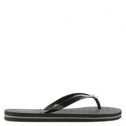 Black Logo Toe Post Flip Flop